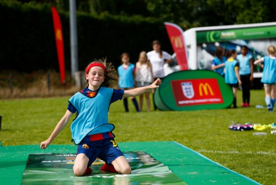 The Molesey McDonald's supported Community Football Day at Ember Lane Sports Ground on August 1, 2015 in East Molesey, England.