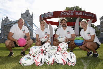 Rugby Union - Coca-Cola Rugby Exchange  - Potters Fields Park, London - 3/8/15 Coca-Cola launch million ball giveaway with Mike Tindall, Thom Evans, Natasha Hunt and Emily Scarratt at Tower Bridge as part of it's Rugby World Cup 2015 partnership  Mandatory Credit: Action Images / Andrew Couldridge Livepic EDITORIAL USE ONLY.