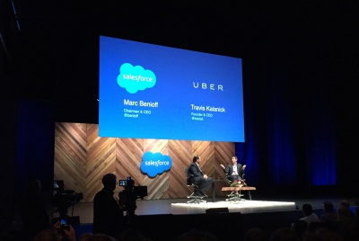 Salesforce CEO Marc Benioff and Uber CEO Travis Kalanick on stage at Dreamforce