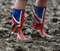 Wellies at a festival