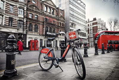 The new red colours of the 'Santander Cycles' tie in nicely with the capital's iconic buses and post boxes.